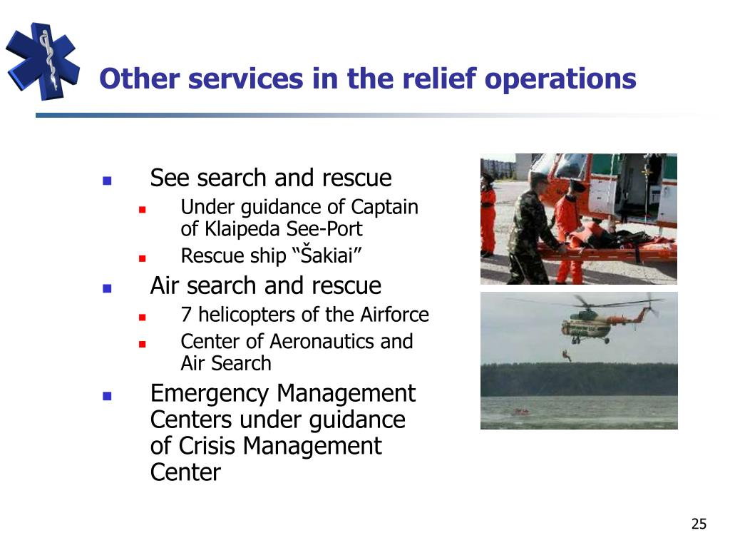Other services in the relief operations