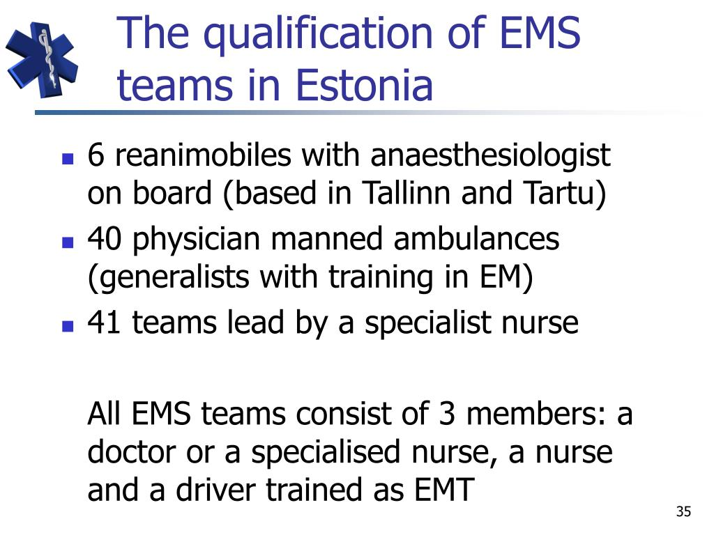 The qualification of EMS teams