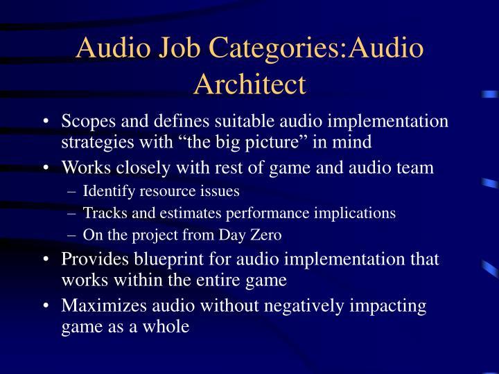 Audio Job Categories:Audio Architect