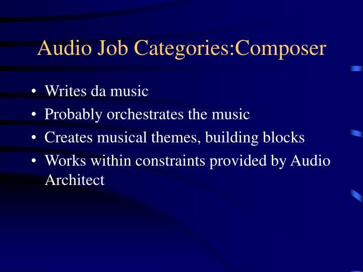 Audio Job Categories:Composer