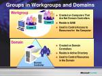 groups in workgroups and domains