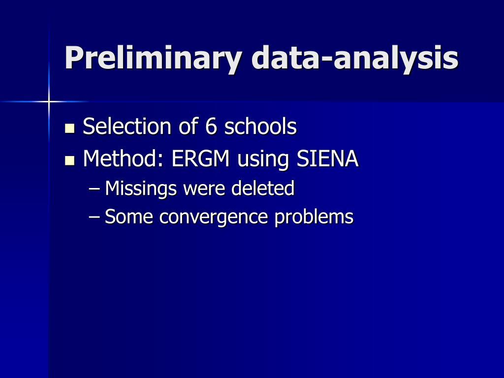 Preliminary data-analysis