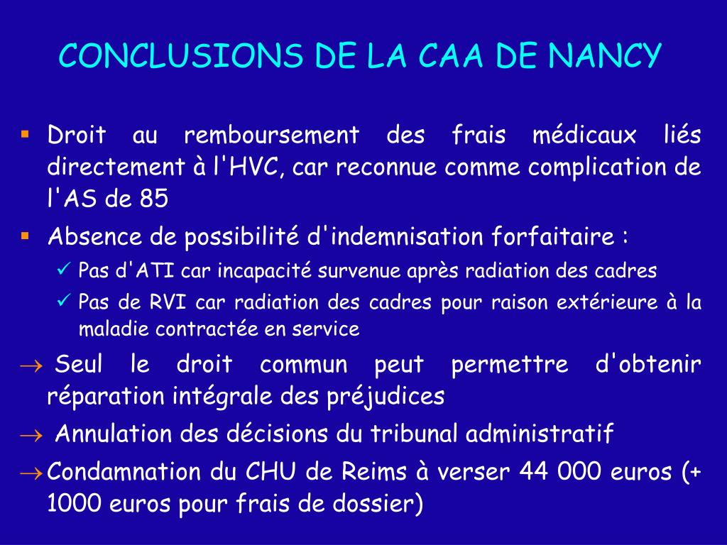 CONCLUSIONS DE LA CAA DE NANCY