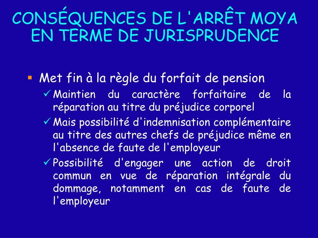 CONSÉQUENCES DE L'ARR