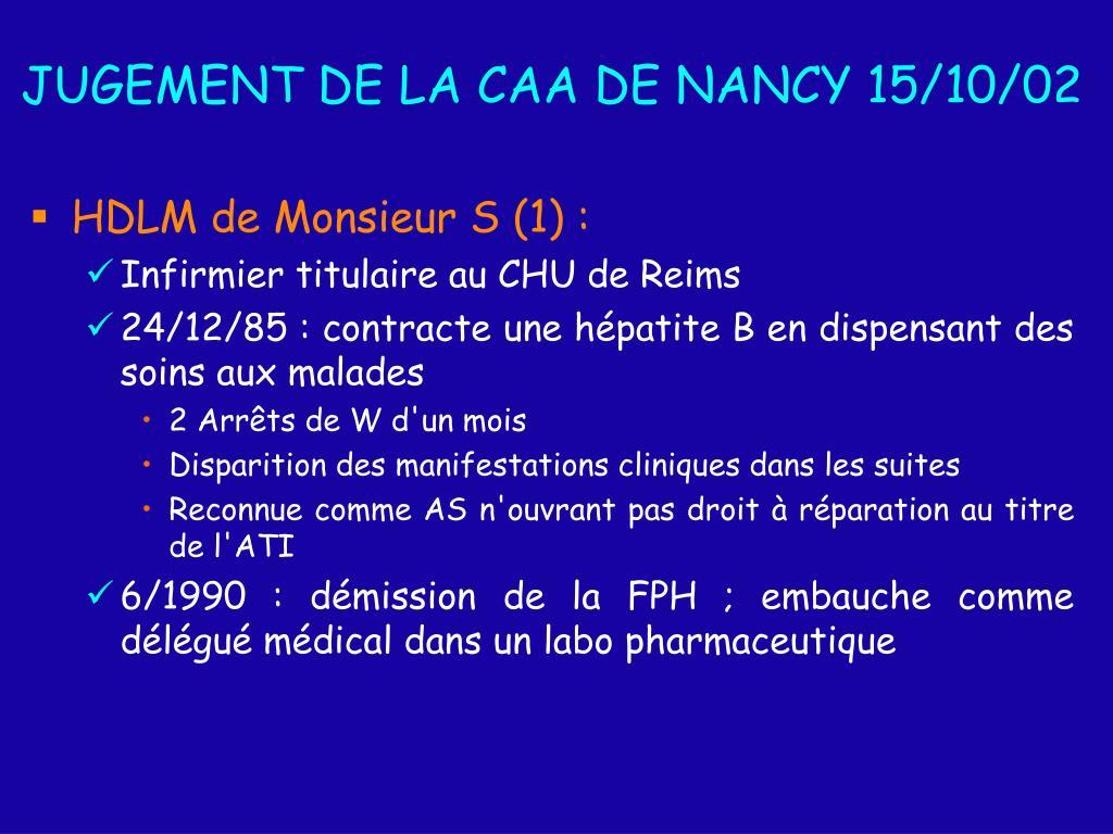 JUGEMENT DE LA CAA DE NANCY 15/10/02
