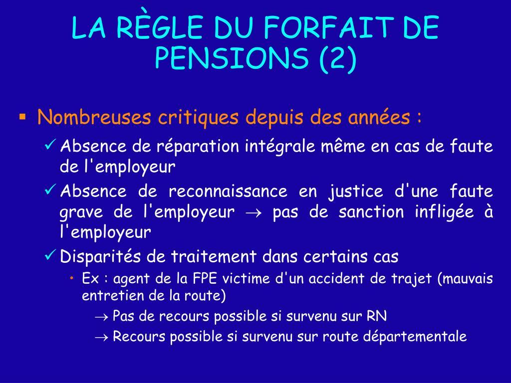 LA RÈGLE DU FORFAIT DE PENSIONS (2)