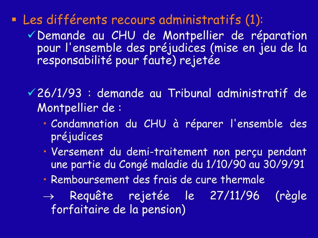 Les différents recours administratifs (1):
