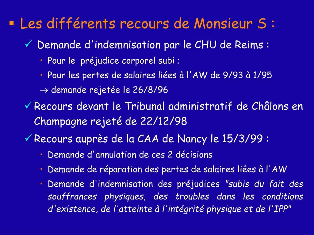 Les différents recours de Monsieur S :
