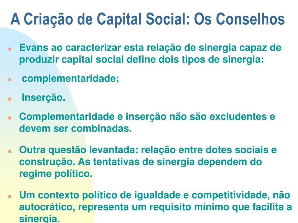A Criação de Capital Social: Os Conselhos
