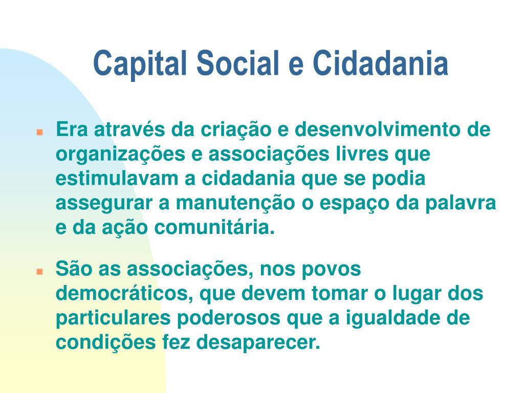 Capital Social e Cidadania