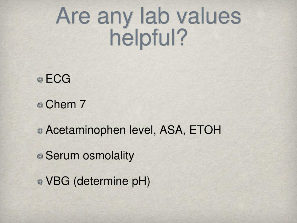 Are any lab values helpful?