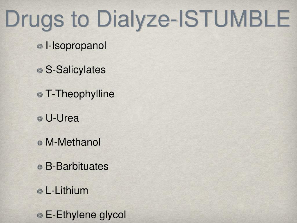 Drugs to Dialyze-ISTUMBLE