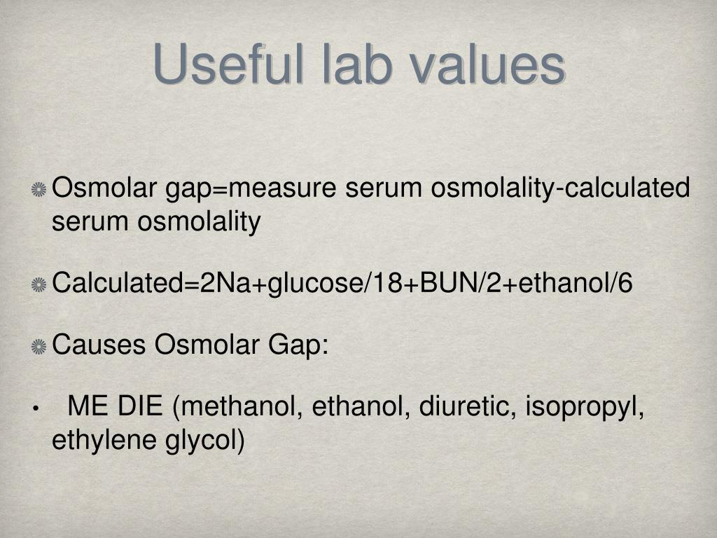 Useful lab values
