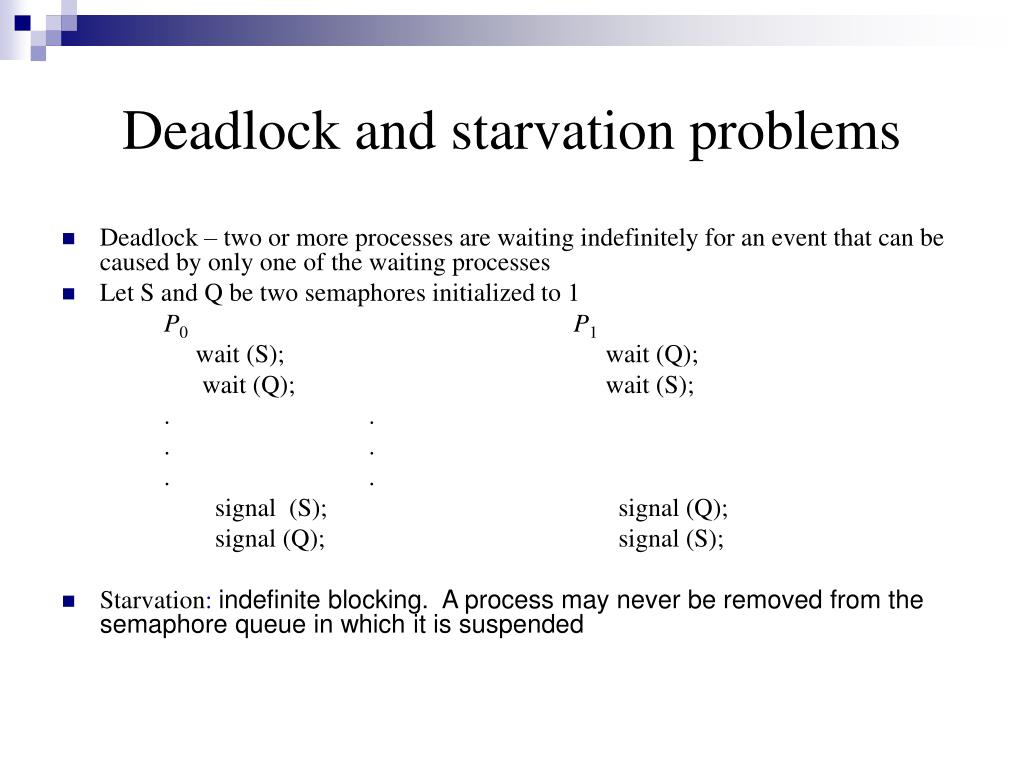 Deadlock and starvation problems