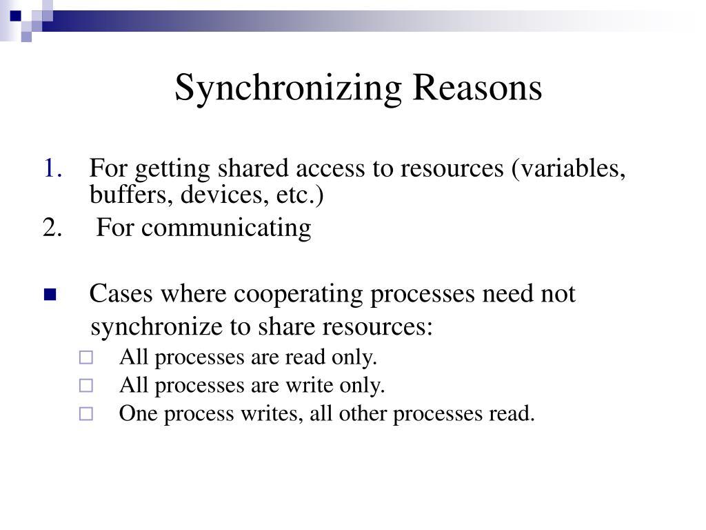 Synchronizing Reasons