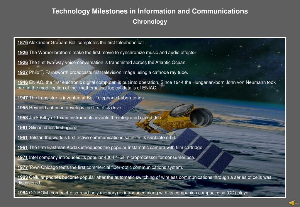 Technology Milestones in Information and Communications