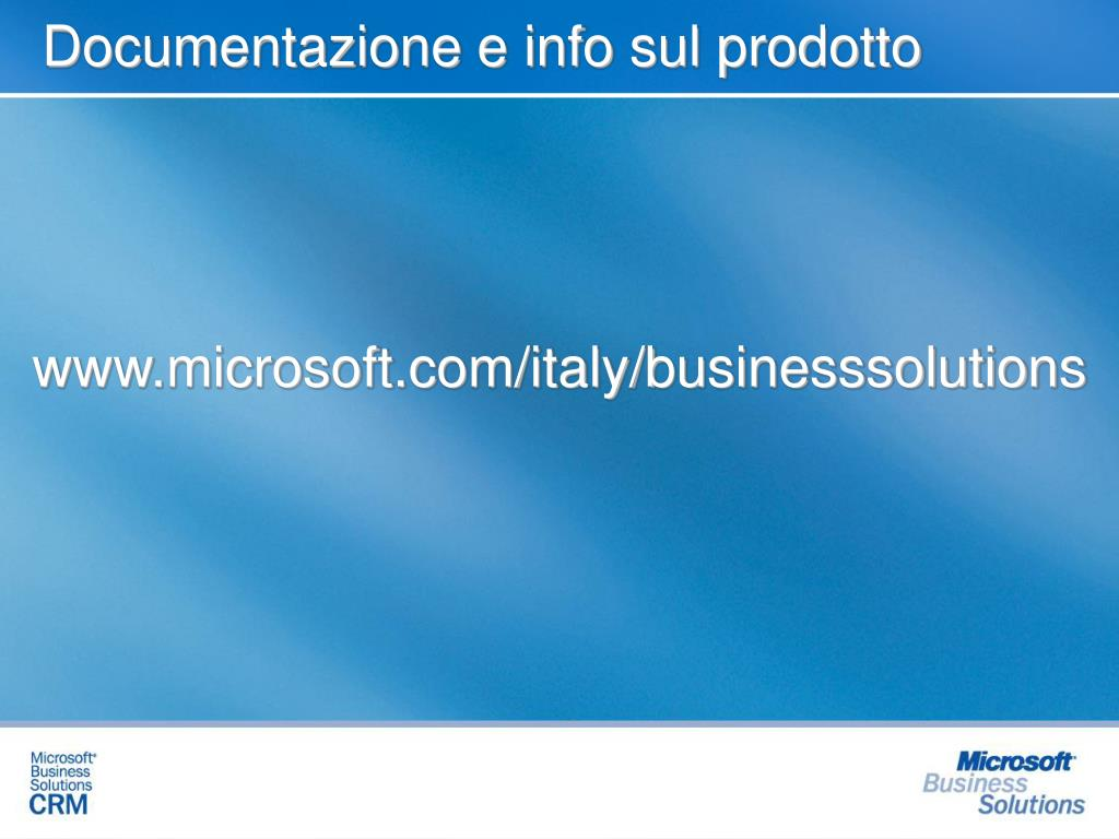 Documentazione e info sul prodotto