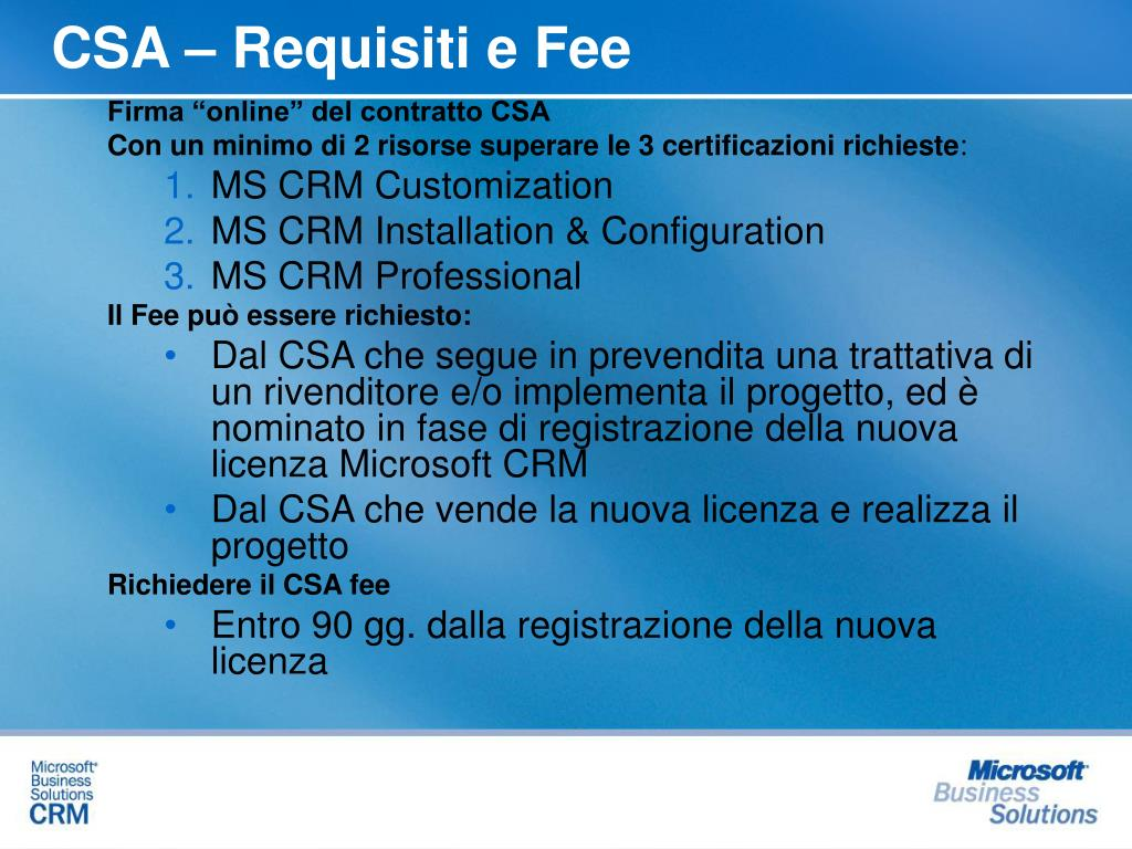 CSA – Requisiti e Fee