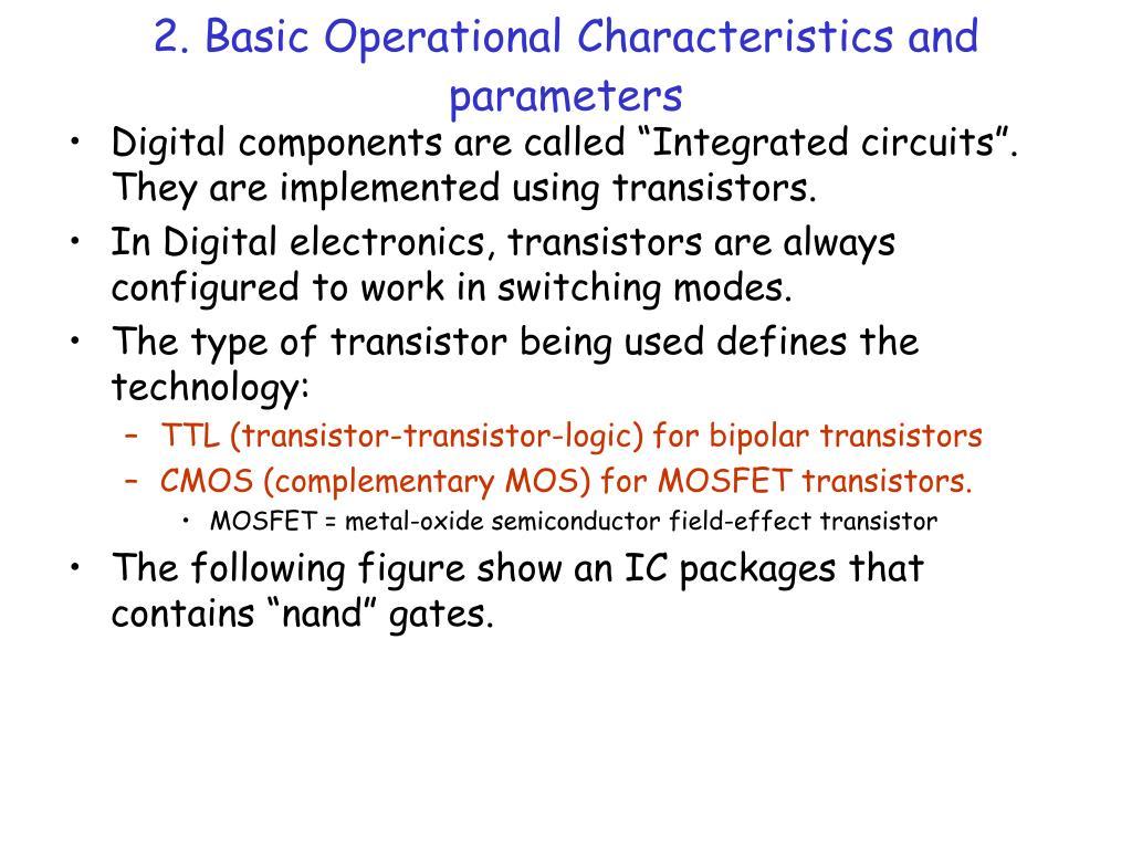 2. Basic Operational Characteristics and parameters
