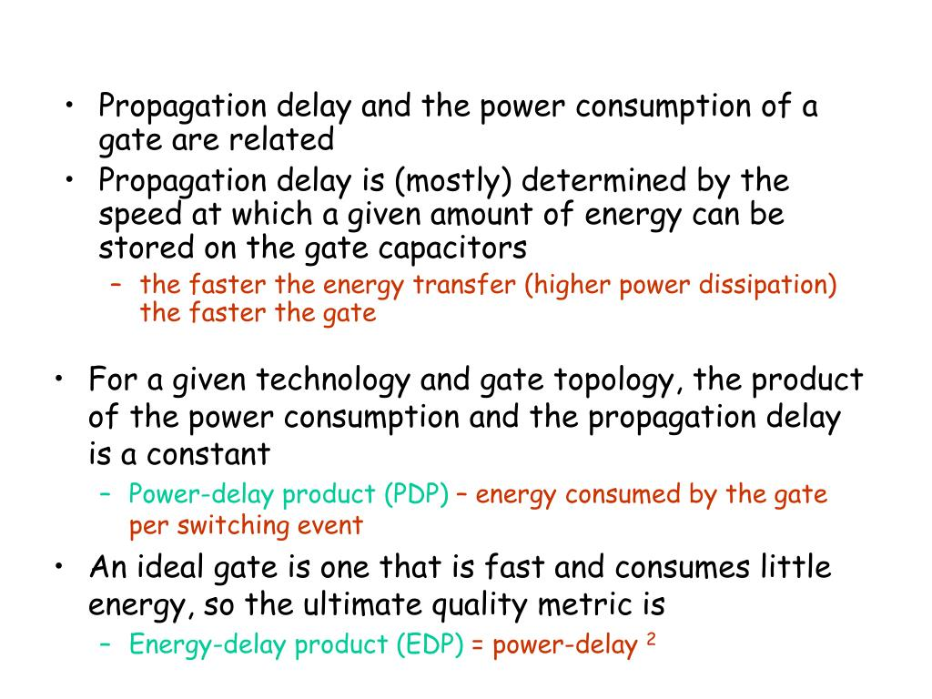 Propagation delay and the power consumption of a gate are related