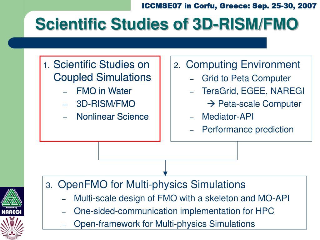 Scientific Studies of 3D-RISM/FMO