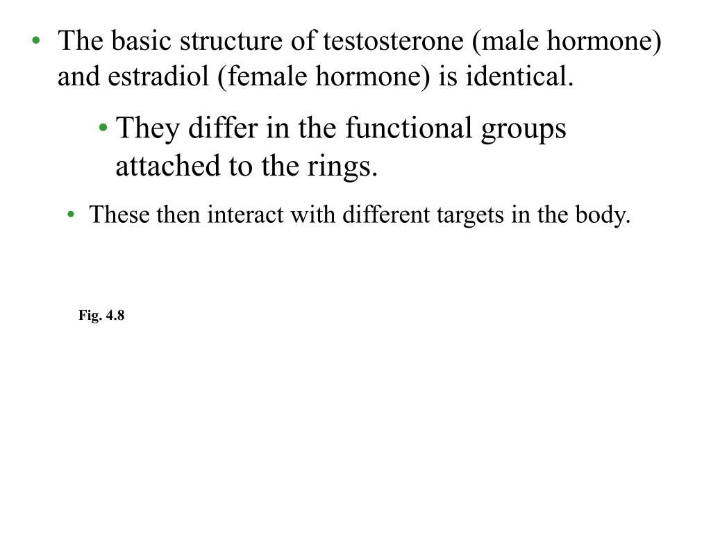 The basic structure of testosterone (male hormone) and estradiol (female hormone) is identical.