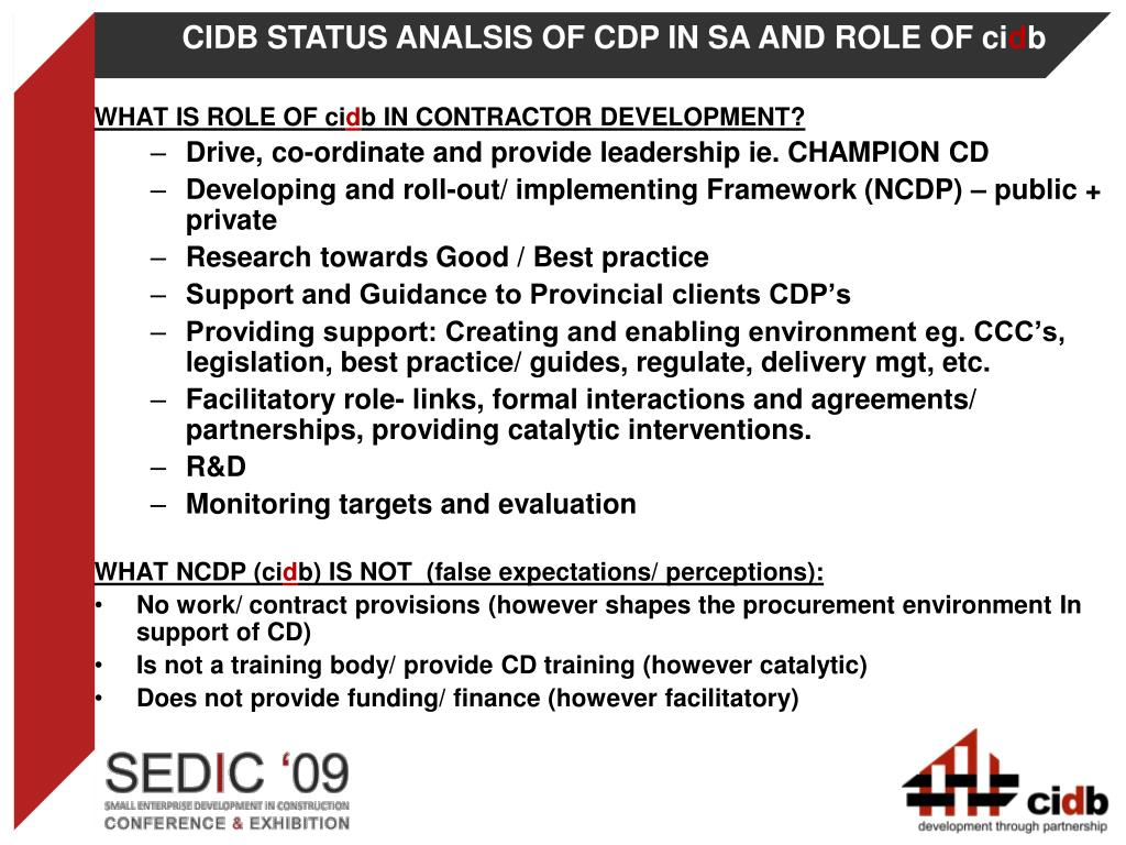 CIDB STATUS ANALSIS OF CDP IN SA AND ROLE OF