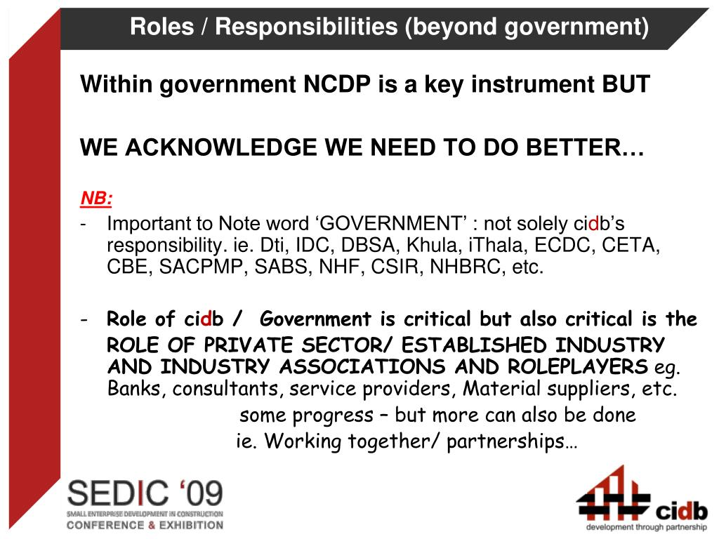 Roles / Responsibilities (beyond government)