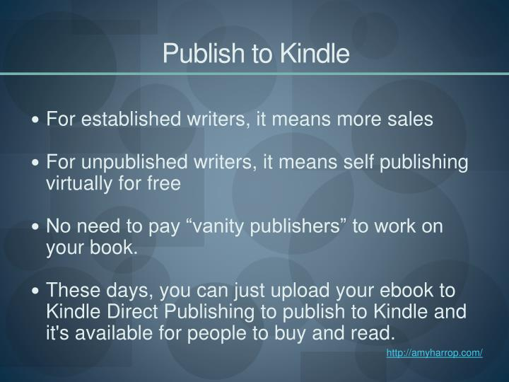 Publish to kindle3