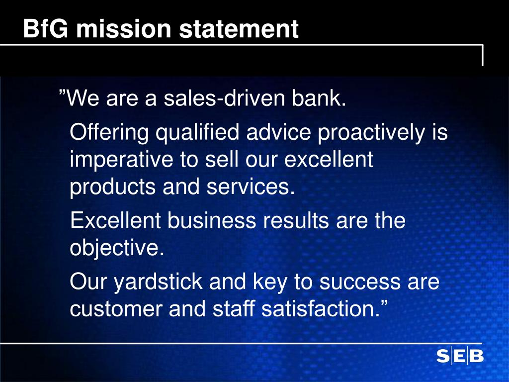 BfG mission statement