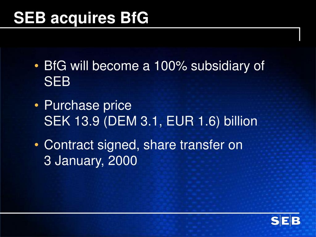 SEB acquires BfG