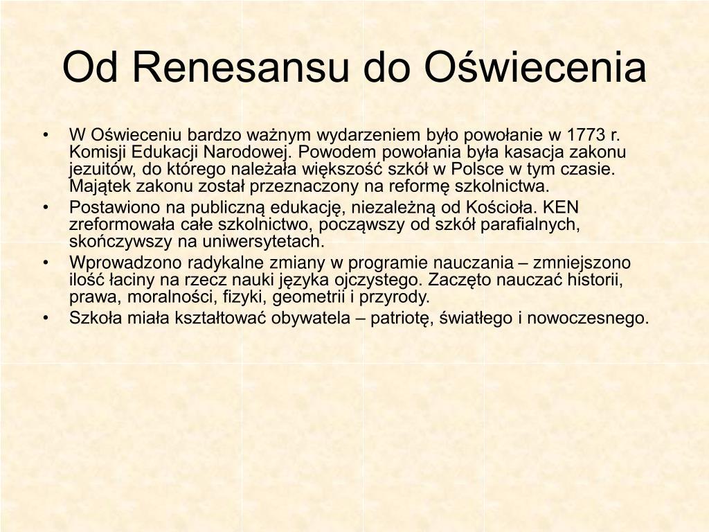 Od Renesansu do Oświecenia