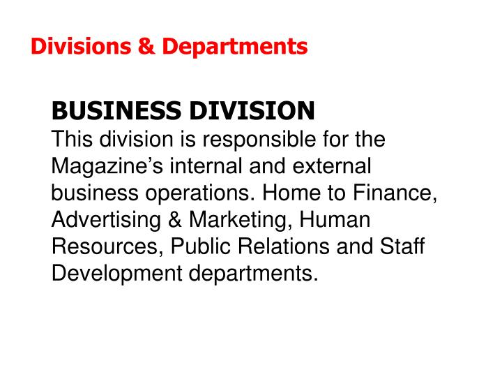 Divisions & Departments