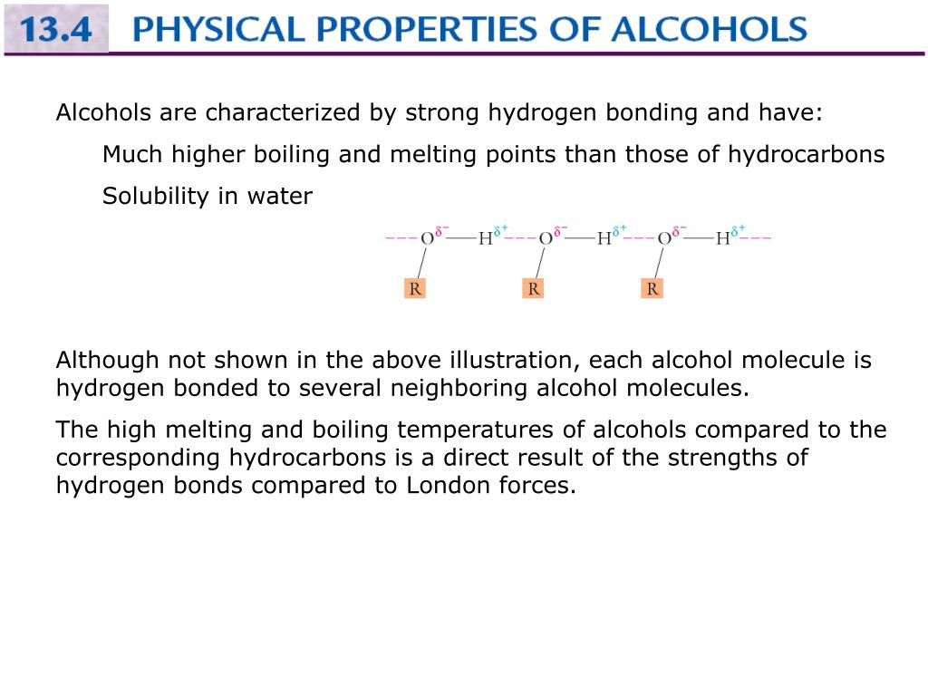 Alcohols are characterized by strong hydrogen bonding and have: