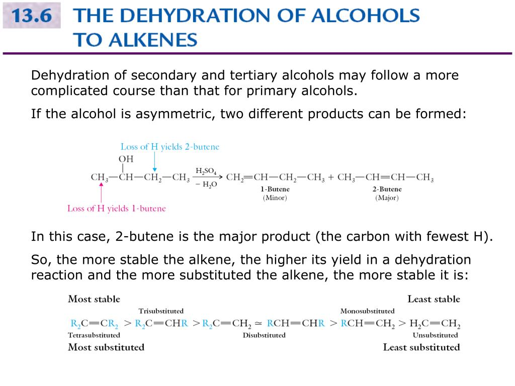 Dehydration of secondary and tertiary alcohols may follow a more complicated course than that for primary alcohols.