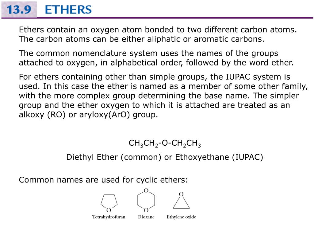 Ethers contain an oxygen atom bonded to two different carbon atoms.  The carbon atoms can be either aliphatic or aromatic carbons.