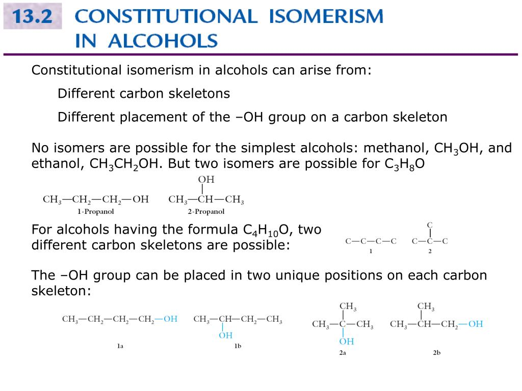 Constitutional isomerism in alcohols can arise from: