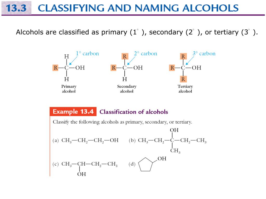 Alcohols are classified as primary (1