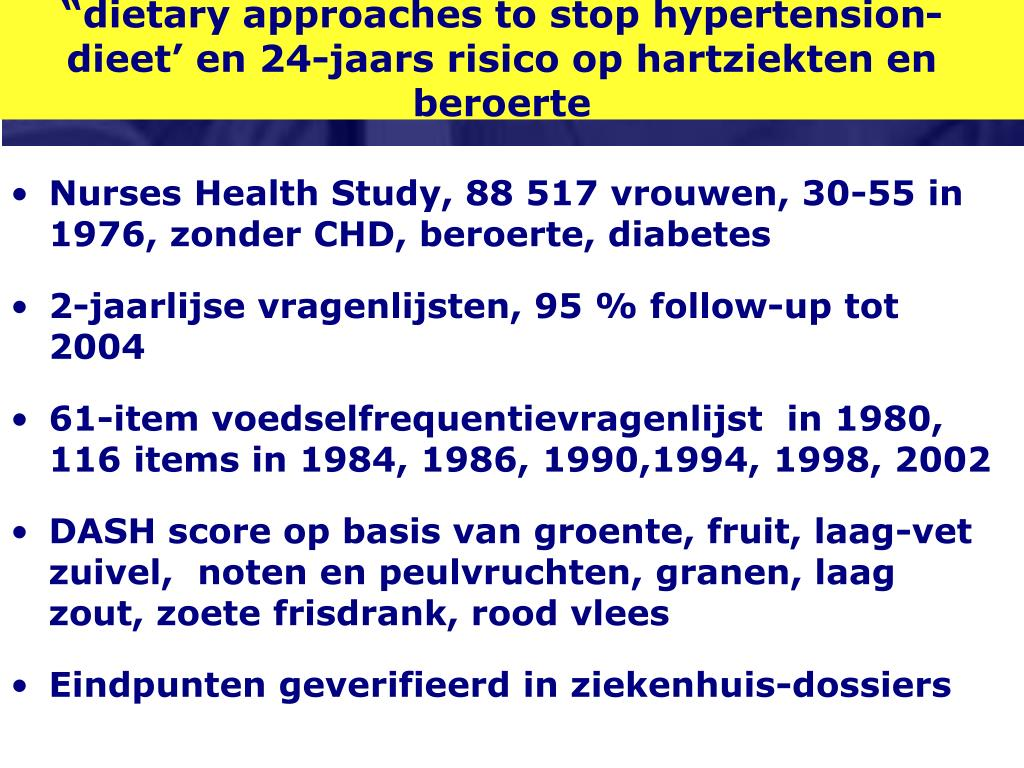"""dietary approaches to stop hypertension-dieet' en 24-jaars risico op hartziekten en beroerte"
