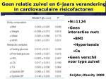 geen relatie zuivel en 6 jaars verandering in cardiovaculaire risicofactoren