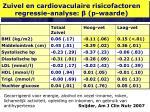 zuivel en cardiovaculaire risicofactoren regressie analyse p waarde