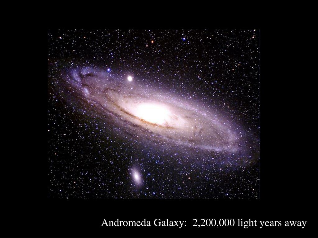 Andromeda Galaxy:  2,200,000 light years away