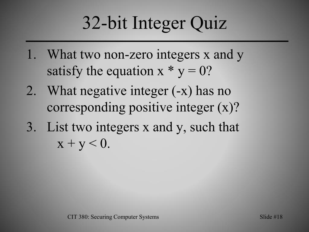 32-bit Integer Quiz