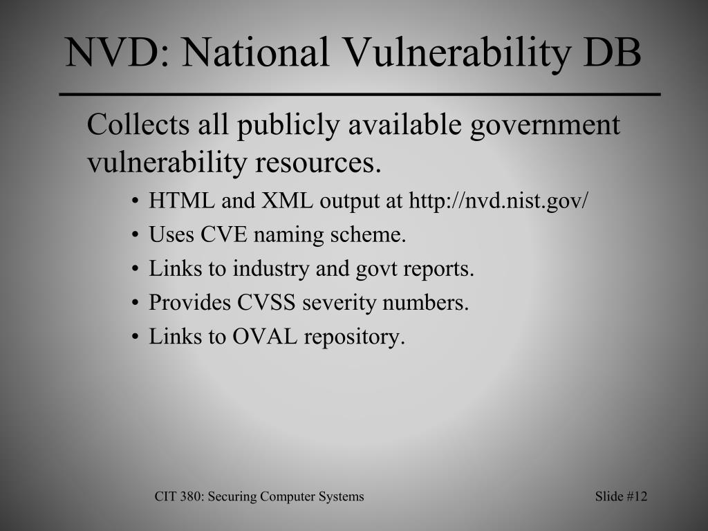 NVD: National Vulnerability DB