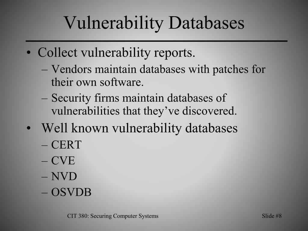 Vulnerability Databases