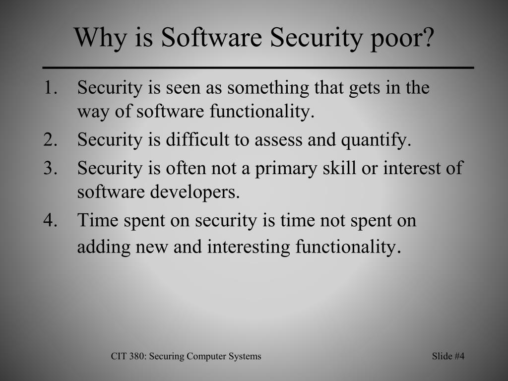Why is Software Security poor?