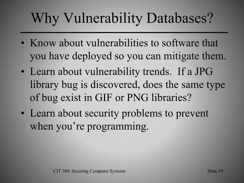 Why Vulnerability Databases?