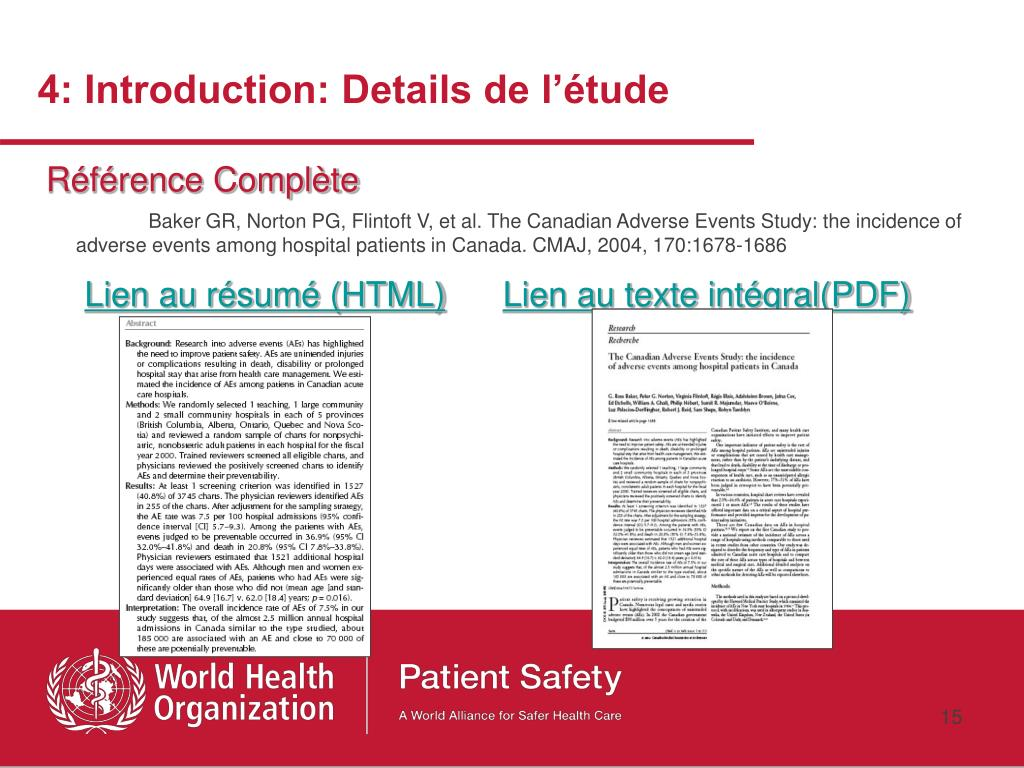 4: Introduction: Details de l'étude
