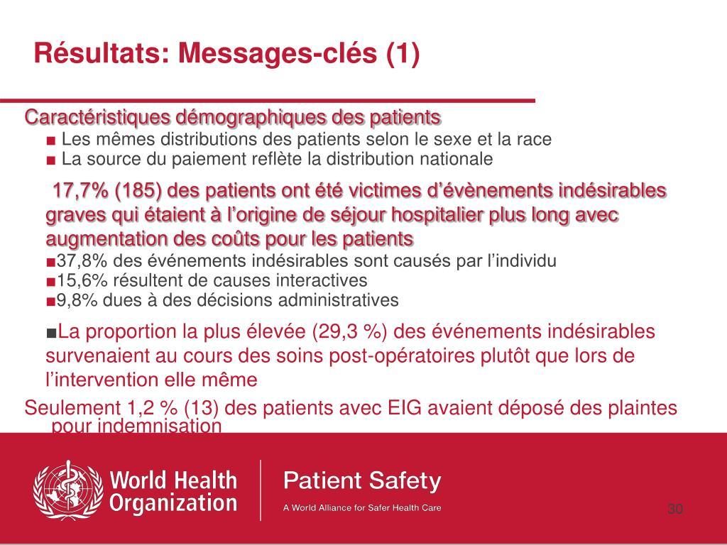 Résultats: Messages-clés (1)