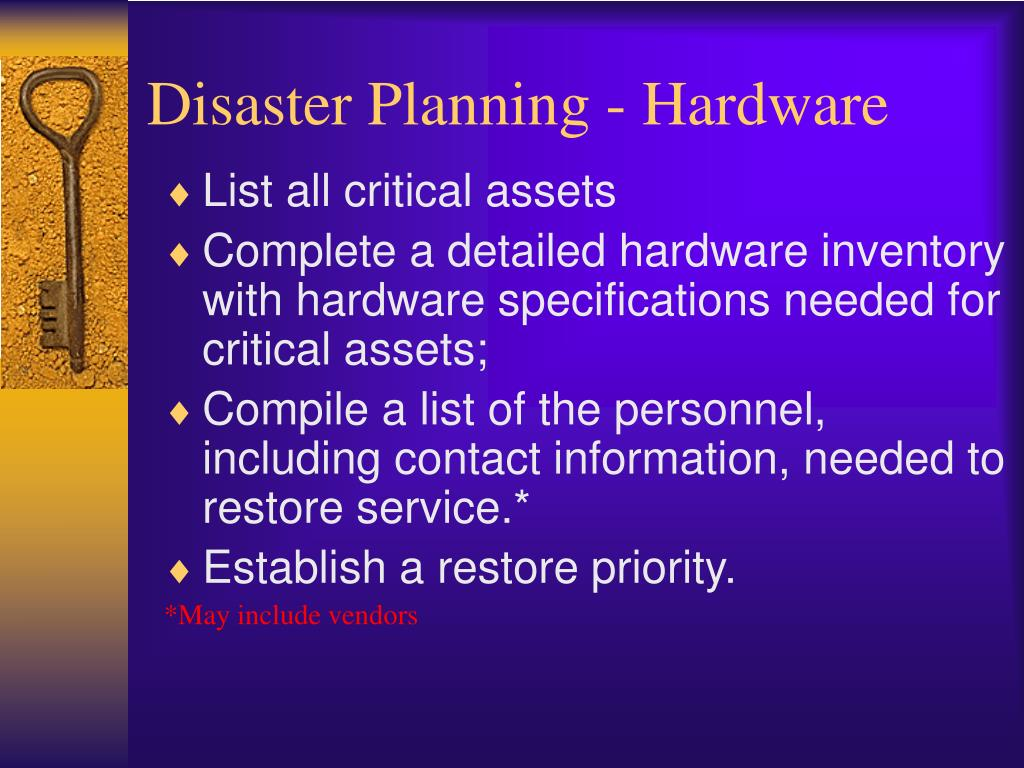 Disaster Planning - Hardware